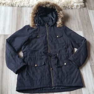Chocolate Sherpa Parka Jacket with Faux Fur Hood